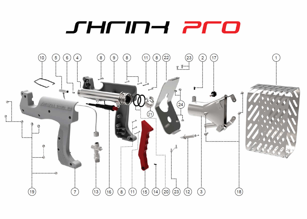 ShrinkPro Heat Shrink Guns, SP Revolution Exploded Diagram
